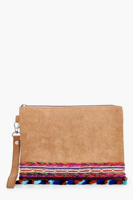 Bella Boutique Embellished Pom Suede Clutch