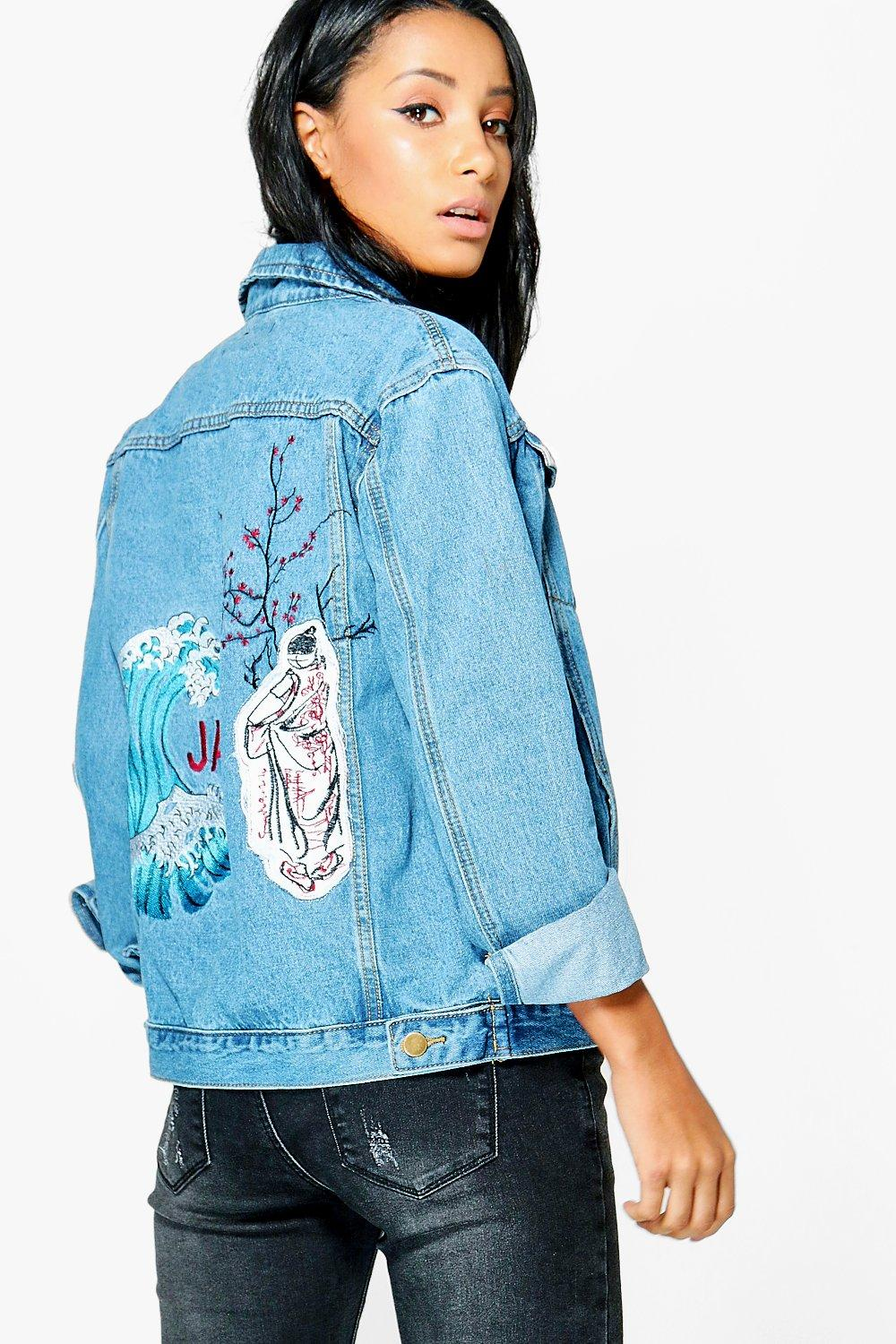 3838da61ba Jodie Oversized Embroidered Back Denim Jacket | Boohoo