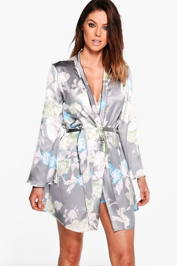 Womens Grey Satin Floral Print Robe