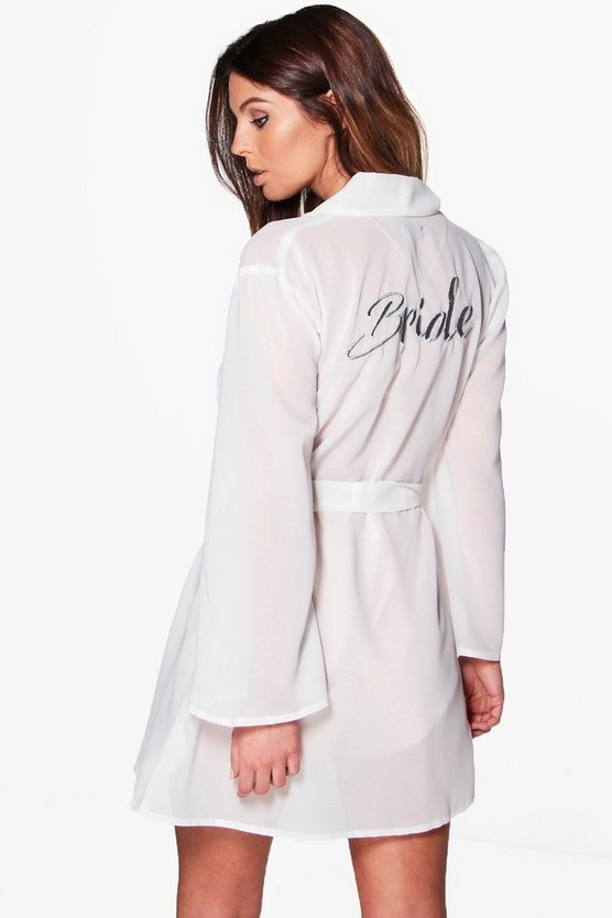 Sheer Bride Embroidered Kimono Robe