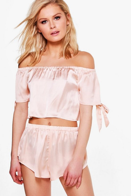 Elle Satin Bardot Bow Top & Short Set