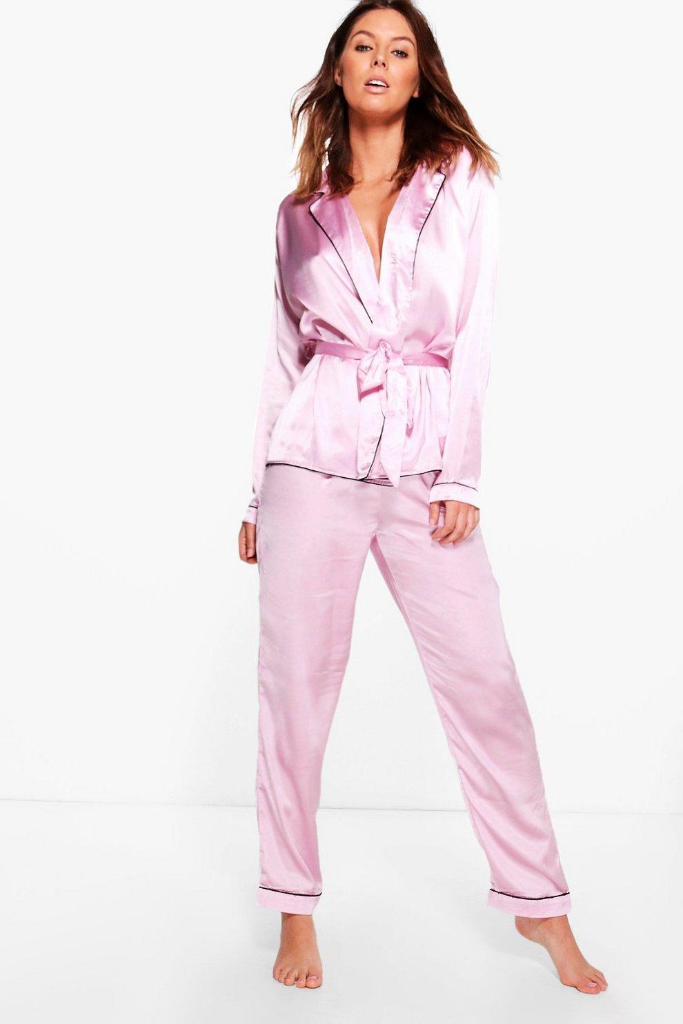 f59e6f6fd conjunto de pijama de pantalones y camisa de dormir estilo bata de satén  por delante