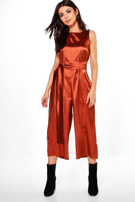 Boohoo Womens Runa Tie Front Satin Culotte Jumpsuit | eBay