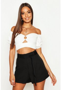 Womens Black Tie Waist Turn Up Woven Tailored Shorts