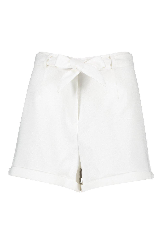 nudo cortos en Marfil entallados vueltos tejidos Pantalones cintura con TvgWqCXXRd