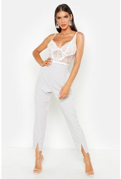 Grey Split Front Slim Line Ankle Grazer Trousers