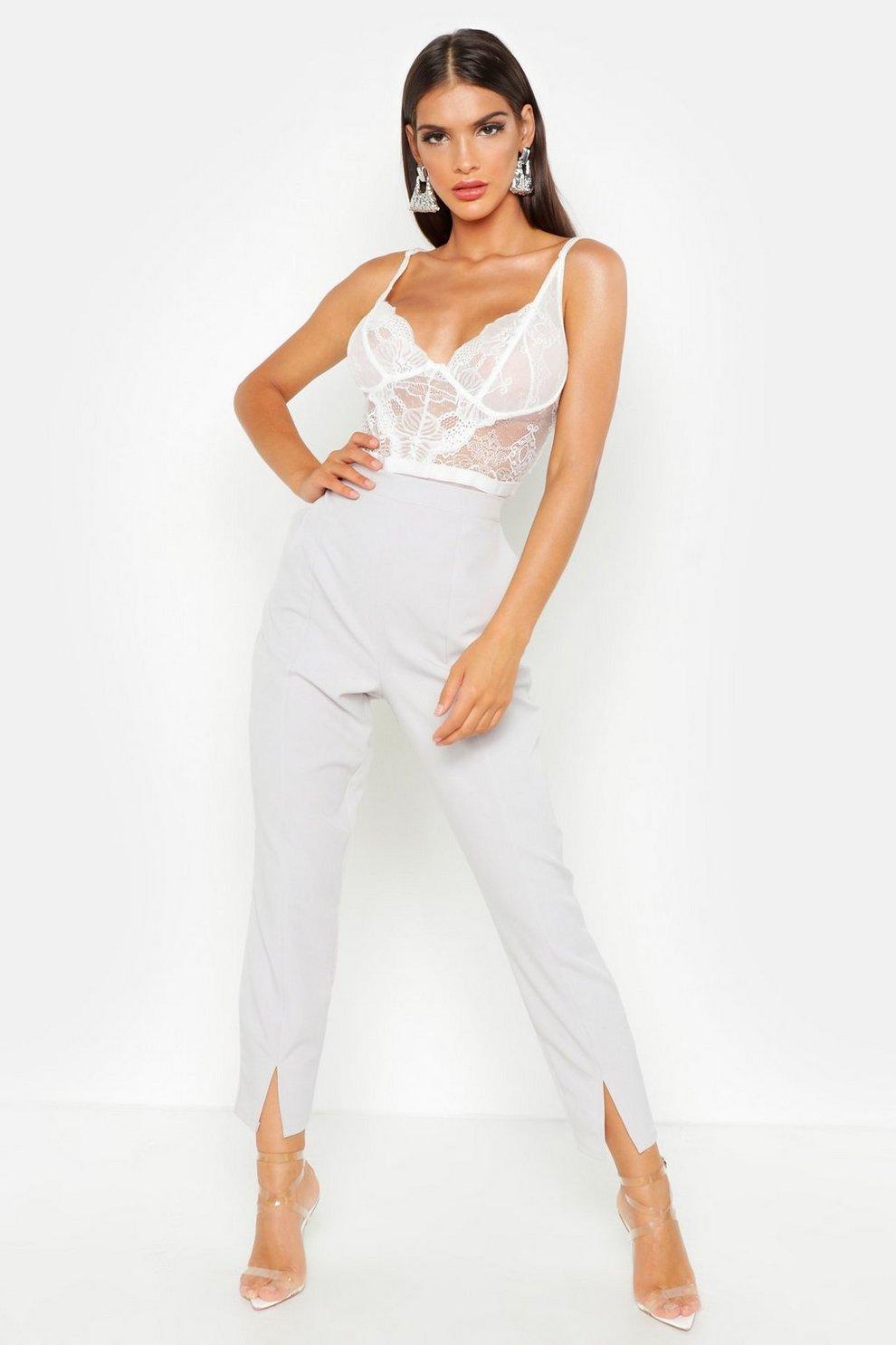 70fc4b49af98db Womens Grey Split Front Slim Line Ankle Grazer Trousers