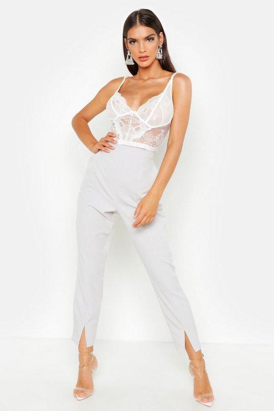 Split Front Slim Line Ankle Grazer Trousers