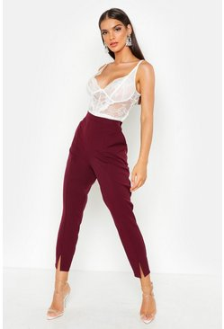 Womens Wine Split Front Slim Line Ankle Grazer Pants