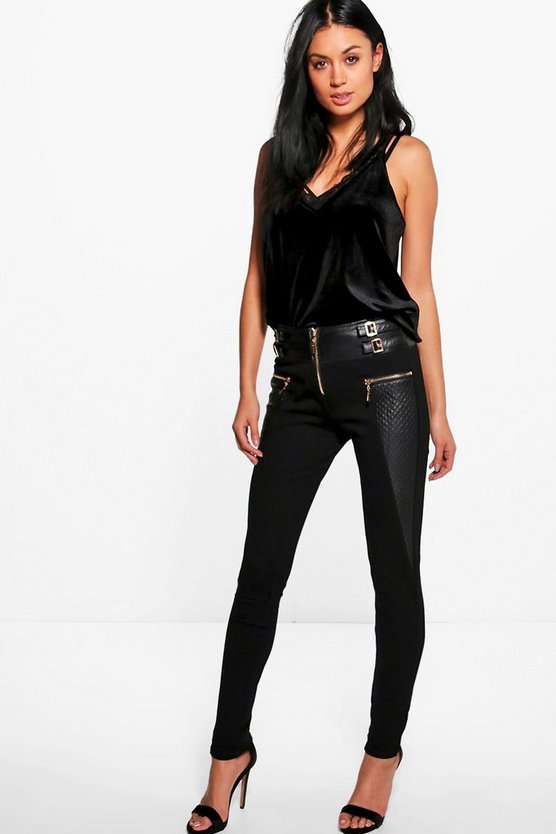 Womens Black Bex Coated Buckle Detail Stretch Skinny Trousers
