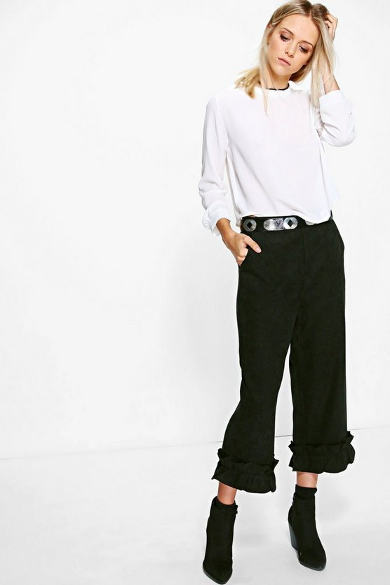 Sofie Ruffle Hem Cord Cropped Trousers