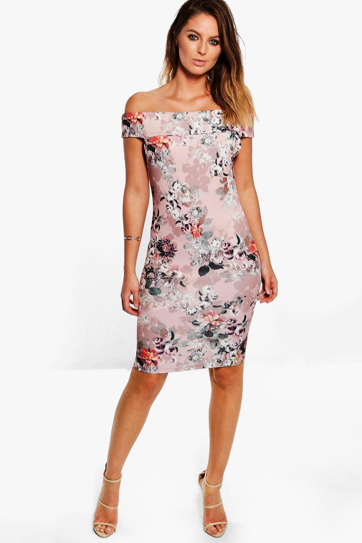 Sandra Floral Print Bardot Midi Dress. Hover to zoom bf0252a3e019