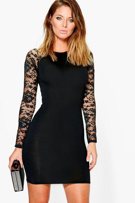 Tanya Lace Raglan Sleeved Bodycon Dress