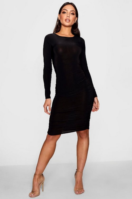 Long Sleeve Wrap Bodycon Dress