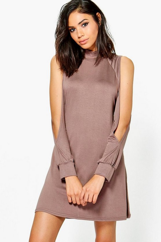 High Neck Split Sleeve Swing Dress