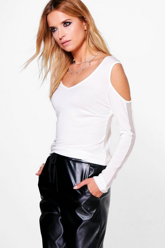 Amber Ladder Trim Cold Shoulder Top