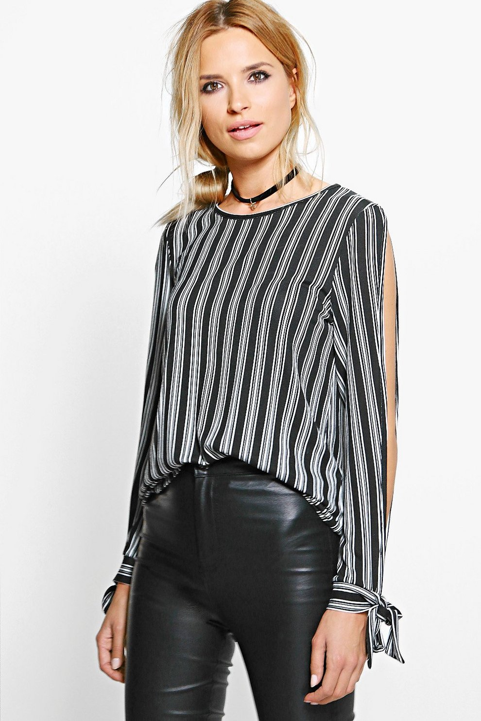 345c0547a5cf Sophie Stripe Split Sleeve Tie Top