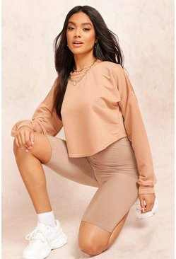 Womens Camel Crop Oversized Sweat
