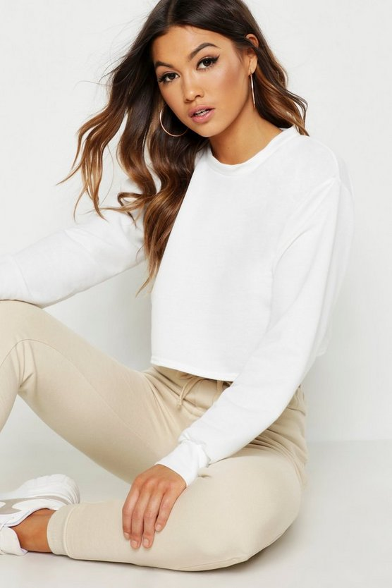 Womens Ecru Crop Oversized Sweat