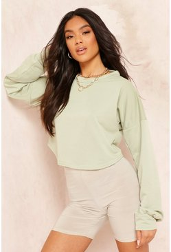 Womens Sage Crop Oversized Sweat