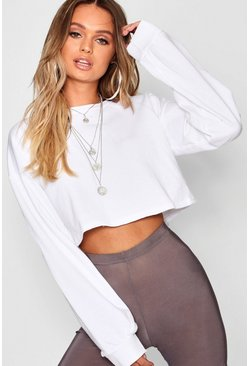 Womens White Crop Oversized Sweat