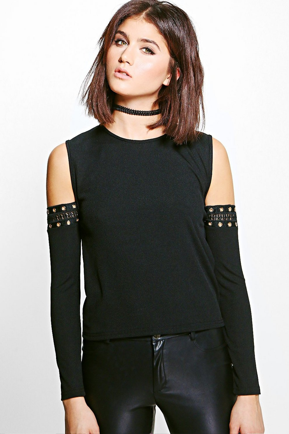 1afd7fe4f6572 Lola Rib Eyelet Cold Shoulder Top
