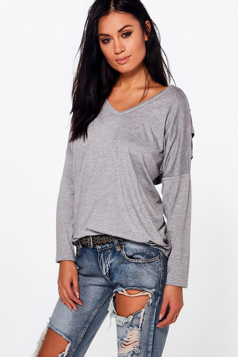 b7aac20c0fe Katy Cut Out Cold Shoulder Top. Womens Grey marl Katy Cut Out Cold Shoulder  Top. Hover to zoom