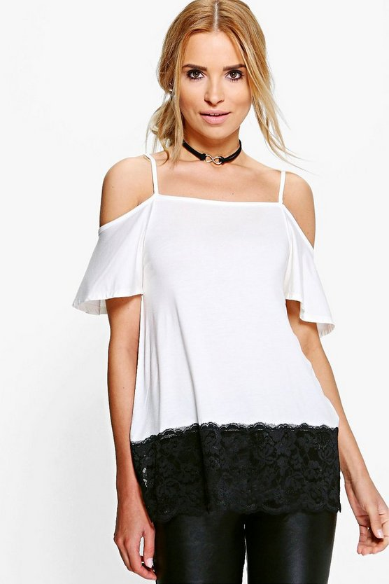 Eloise Lace Hem Cold Shoulder Top