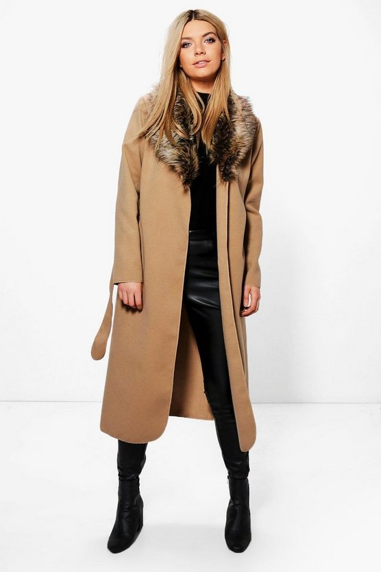 Womens Faux Fur Collar Wrap Coat
