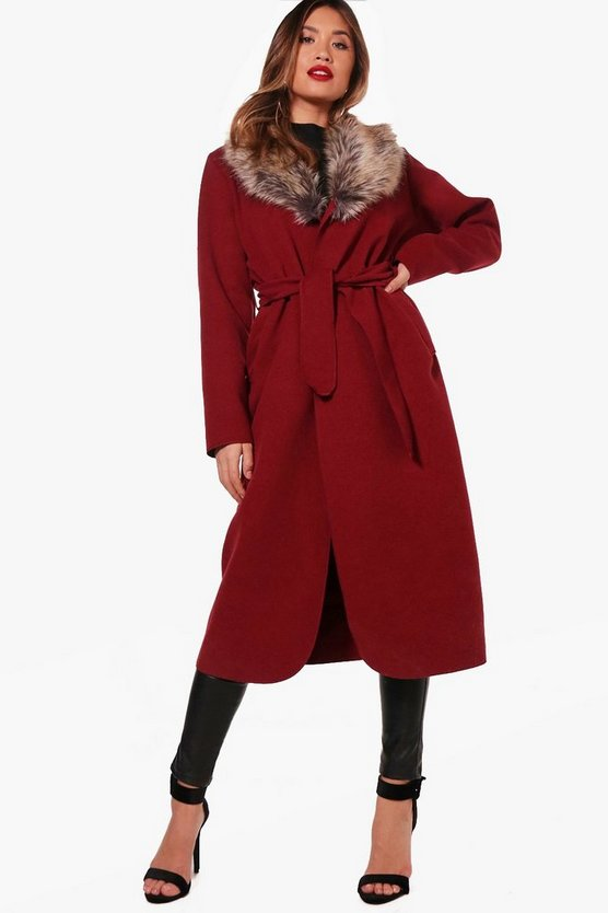 Faux Fur Collar Wrap Coat