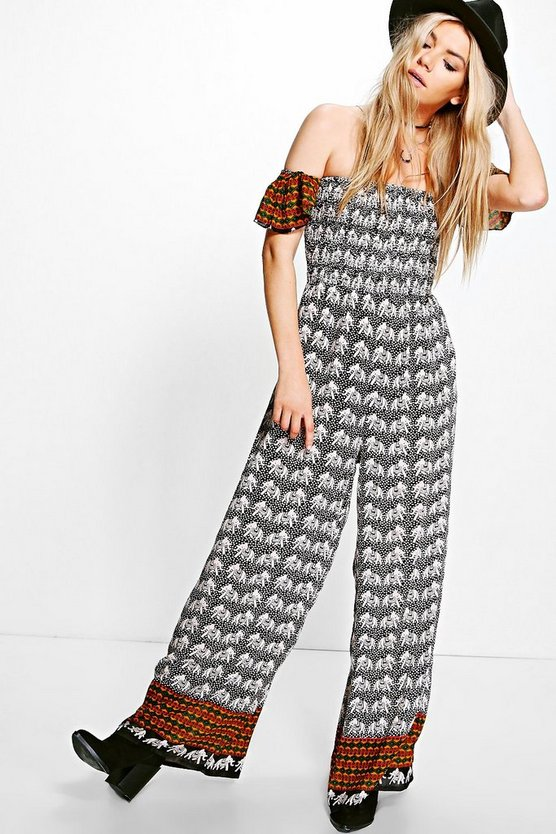 Danka Cold Shoulder Elephant Print Jumpsuit