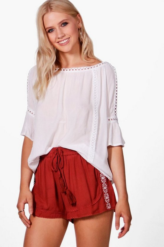 Carol Embroidered Tassel Tie Runner Shorts