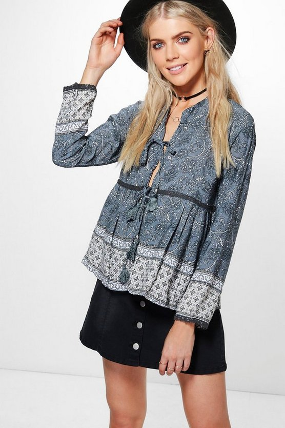 Molly Mixed Paisley Tie Front Top