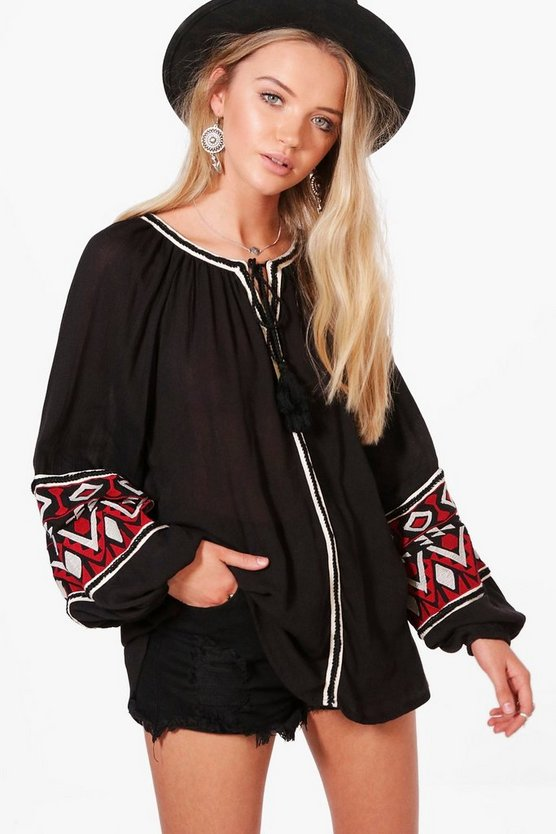 Victoria Boutique Embroidered Woven Tunic