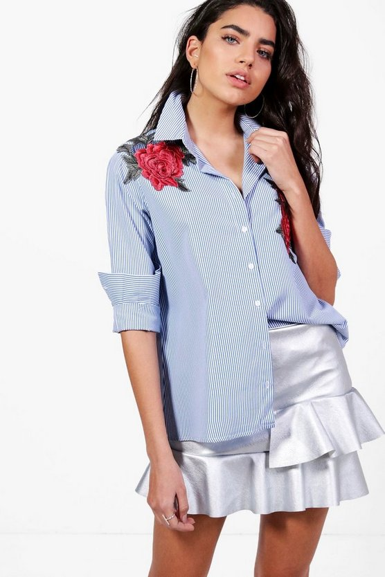 Rose Boutique Floral Applique Stripe Shirt
