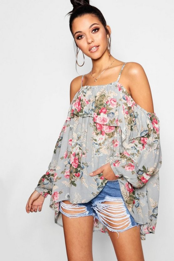 Oversized Floral Ruffle Woven Top