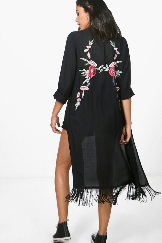 Arabella Boutique Embroidered Back Kimono