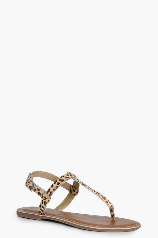 Anna Leather Pony Hair Thong Toe Post Sandal