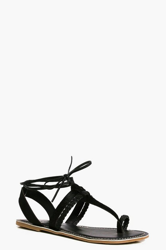 Tilly Pony Hair Thong Tie Up Sandals