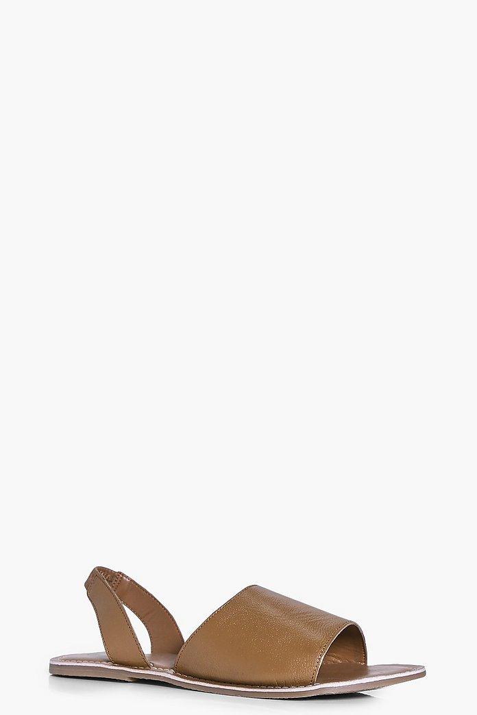 Emma Leather Two Part Peeptoe Sandal | boohoo