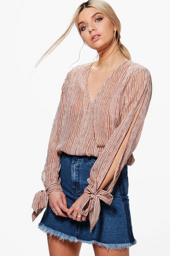 Emma Stripe Wrap Front Tie Sleeve Blouse