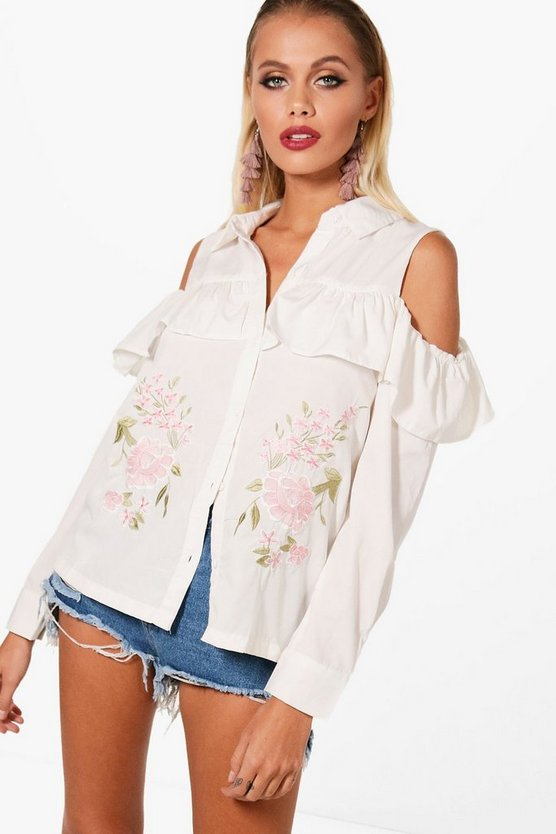 Boutique Embroidered Frill Shirt