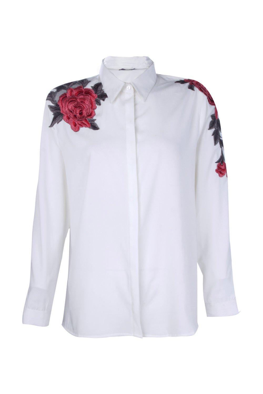 florales apliques con boutique Marfil Camisa ncqZYgWx