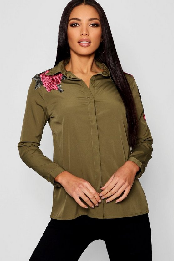 Boutique Floral Applique Shirt