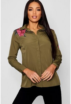 Womens Khaki Boutique Floral Applique Shirt