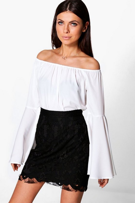 Solid Woven Flare Sleeve Top
