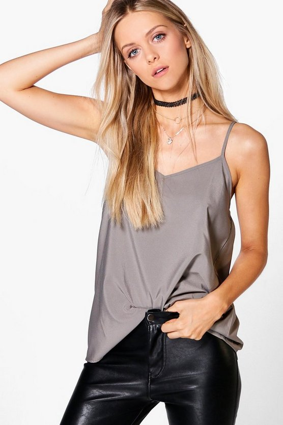 Womens Grey Solid Woven Cami