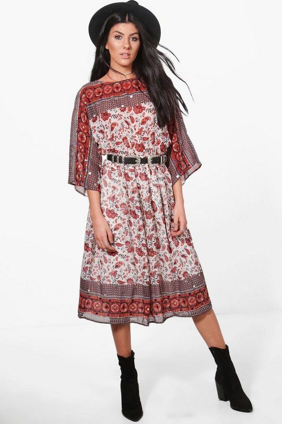 Boutique Cesca Sequined Printed Midi Dress