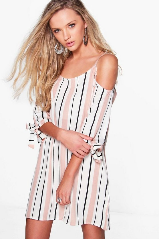 Stripe Cold Shoulder Shift Dress