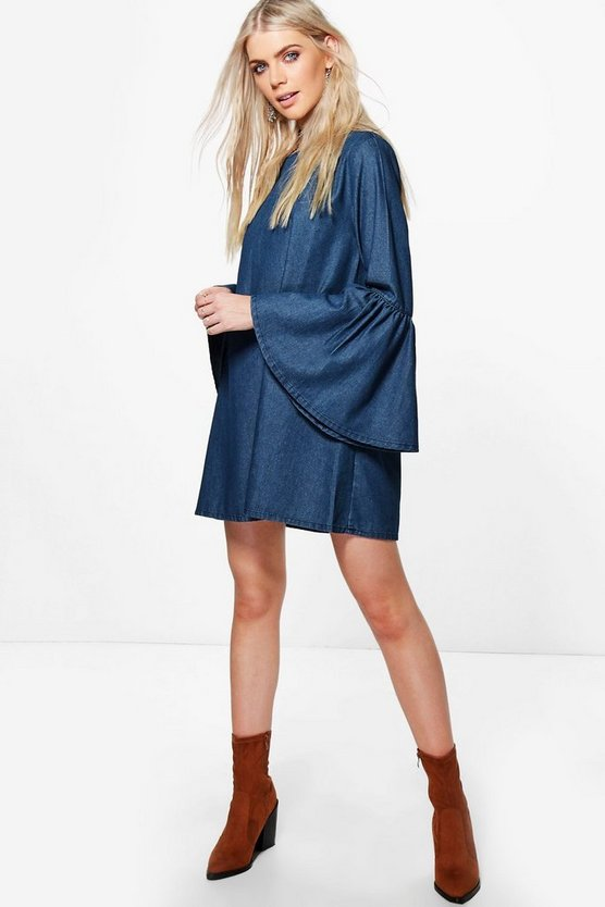 Zoe Flute Sleeve Denim Shirt Dress